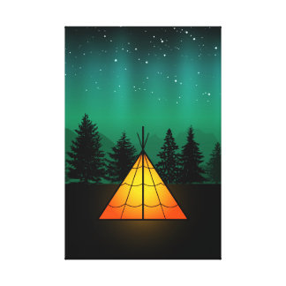 Camping Under Aurora Canvas Print