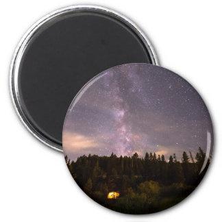 Camping Under Nighttime Milkway Stars 2 Inch Round Magnet