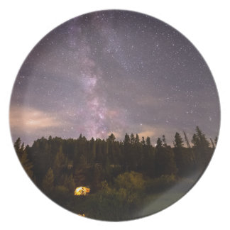 Camping Under Nighttime Milkway Stars Plate