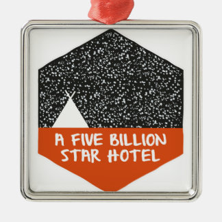 Camping under the stars metal ornament