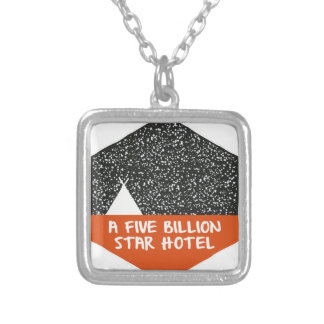 Camping under the stars silver plated necklace