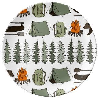 Camping Woodland Bear Fox Forest / Andrea Lauren Porcelain Plates