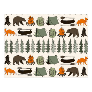 Camping Woodland Bear Fox Forest / Andrea Lauren Postcard