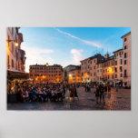 Campo de Fiori at sunset, Rome, Italy, Poster