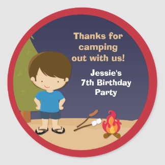 Campout Birthday Party Favor Stickers