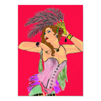 CAN CAN DANCER INVITATION CARDS