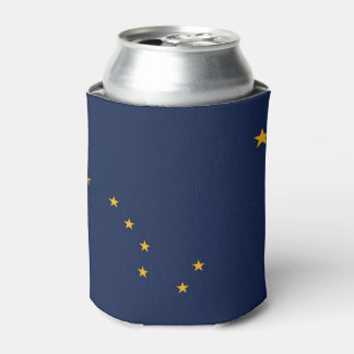 Can Cooler with flag of Alaska State, USA.