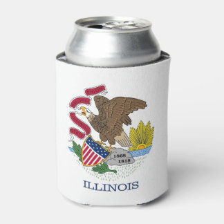 Can Cooler with flag of Illinois State, USA.
