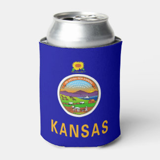 Can Cooler with flag of Kansas State, USA.