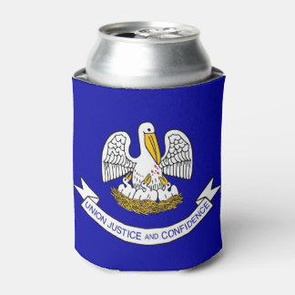 Can Cooler with flag of Louisiana State, USA.