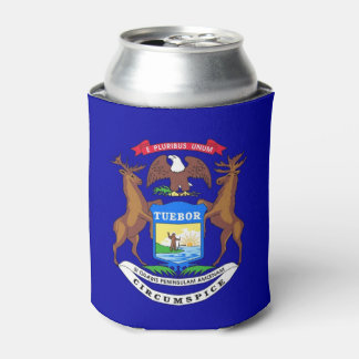 Can Cooler with flag of Michigan State, USA.