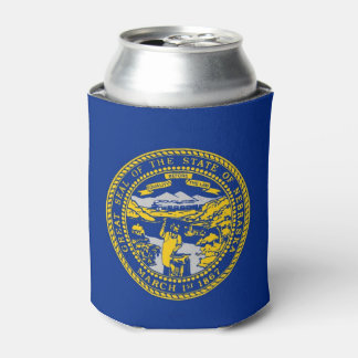 Can Cooler with flag of Nebraska State, USA.