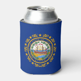 Can Cooler with flag of New Hampshire State, USA.