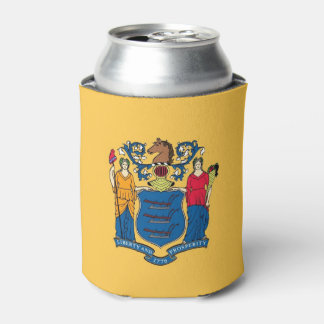 Can Cooler with flag of New Jersey State, USA.