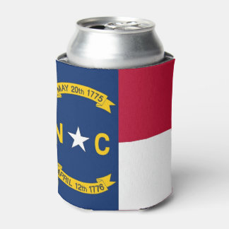 Can Cooler with flag of North Carolina, USA.