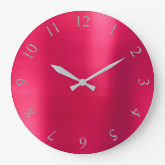 Can Pink  Blush Glitter Gray Silver US UK Numbers Large Clock