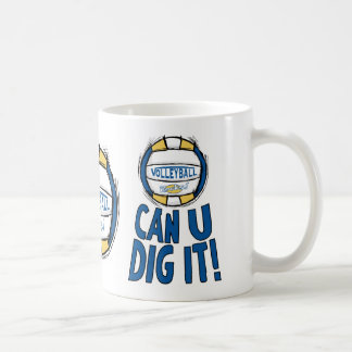 Can U Dig It Volleyball Blue Gold Basic White Mug