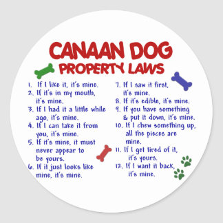 CANAAN DOG Property Laws 2 Classic Round Sticker