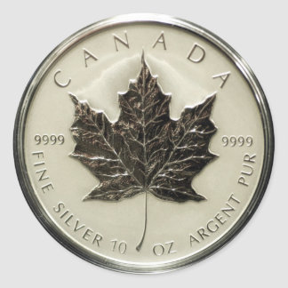 Canada 10oz Silver Coin (pack of 6/20) Round Sticker