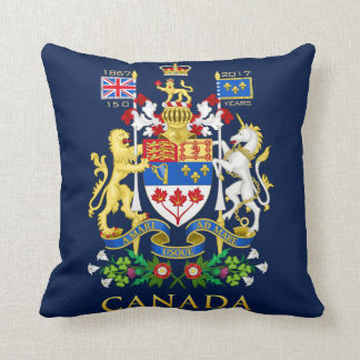Canada 150 Anniversary Birthday Celebration Black Throw Pillow