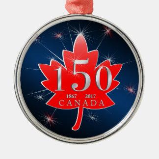 Canada 150 Birthday Celebration Maple Leaf Metal Ornament