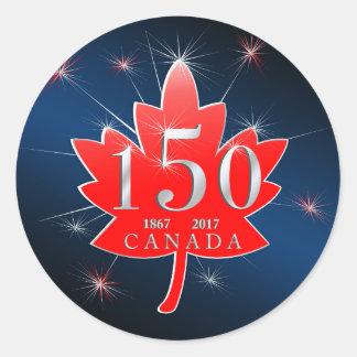 Canada 150 Birthday Celebration Maple Leaf Round Sticker