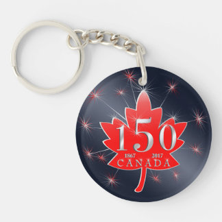 Canada 150 Commemorative Maple Leaf & Fireworks Keychain