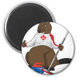 Canada 150 in 2017 Beaver Curling Main 2 Inch Round Magnet