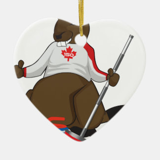 Canada 150 in 2017 Beaver Curling Main Ceramic Heart Ornament