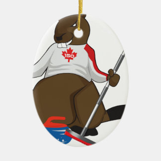Canada 150 in 2017 Beaver Curling Main Ceramic Oval Ornament