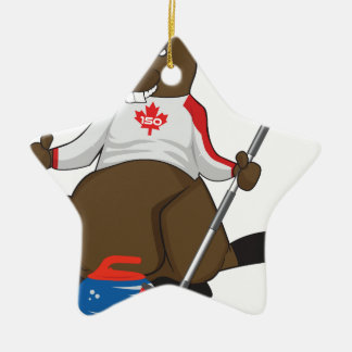 Canada 150 in 2017 Beaver Curling Main Ceramic Star Ornament