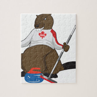 Canada 150 in 2017 Beaver Curling Main Jigsaw Puzzle