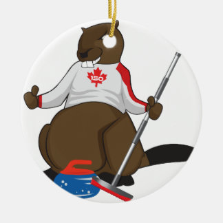 Canada 150 in 2017 Beaver Curling Main Round Ceramic Ornament