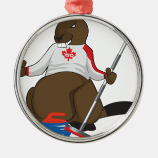 Canada 150 in 2017 Beaver Curling Main Silver-Colored Round Ornament