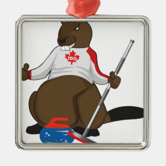 Canada 150 in 2017 Beaver Curling Main Silver-Colored Square Ornament