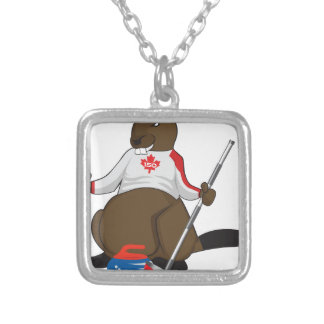 Canada 150 in 2017 Beaver Curling Main Silver Plated Necklace