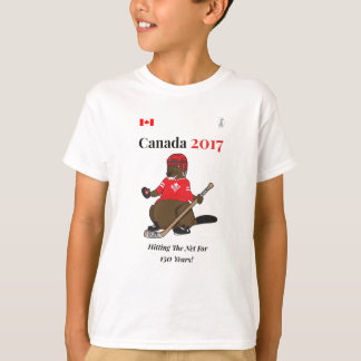Canada 150 in 2017 Beaver Hockey Hitting Net T-Shirt