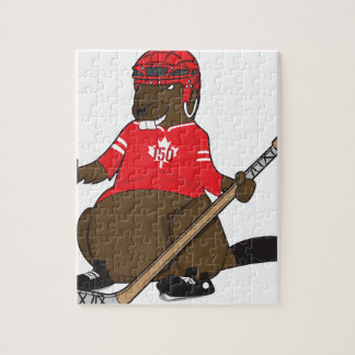 Canada 150 in 2017 Beaver Hockey Jigsaw Puzzle