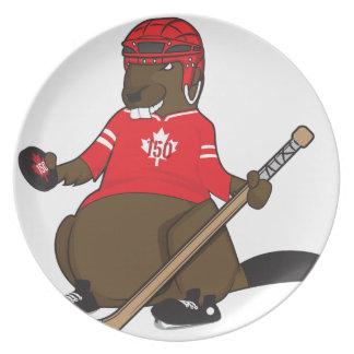 Canada 150 in 2017 Beaver Hockey Party Plates
