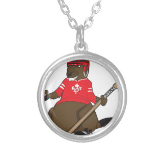 Canada 150 in 2017 Beaver Hockey Silver Plated Necklace