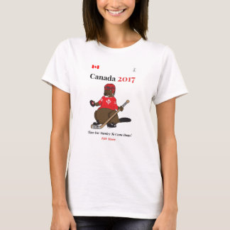 Canada 150 in 2017 beaver hockey Stanley T-Shirt