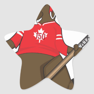 Canada 150 in 2017 Beaver Hockey Star Sticker
