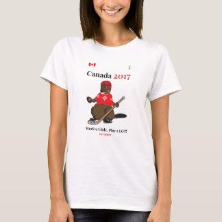 Canada 150 in 2017 Beaver Hockey Work T-Shirt