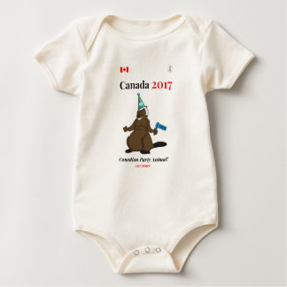 Canada 150 in 2017 Beaver Party Animal Baby Bodysuit