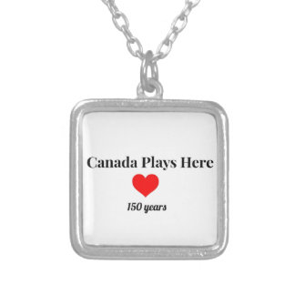 Canada 150 in 2017 Canada Plays Here Silver Plated Necklace