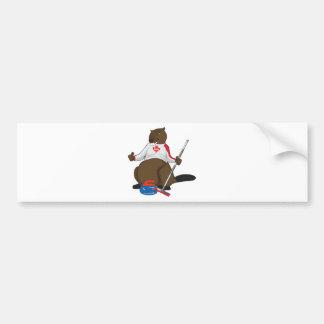 Canada 150 in 2017 Curling Beaver Merchandise Bumper Sticker