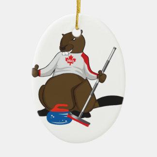 Canada 150 in 2017 Curling Beaver Merchandise Ceramic Ornament