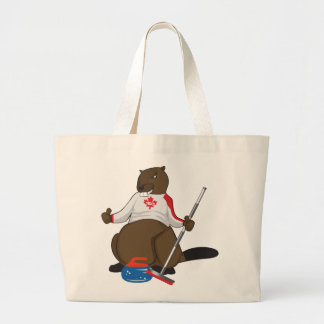 Canada 150 in 2017 Curling Beaver Merchandise Large Tote Bag