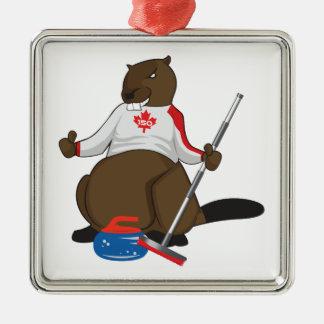 Canada 150 in 2017 Curling Beaver Merchandise Metal Ornament
