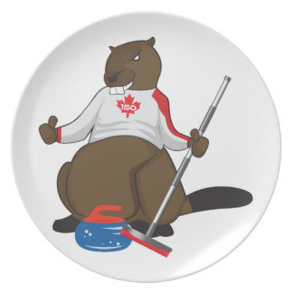 Canada 150 in 2017 Curling Beaver Merchandise Party Plate
